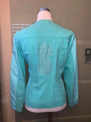Sarah Kern Jacke Leinen Leder in gr 40 Farbe Türkis mit Swarovski Kristallen besetzt