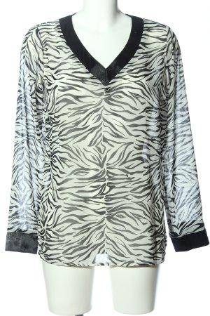 Sarah Kern Langarm-Bluse weiß-schwarz abstraktes Muster Casual-Look