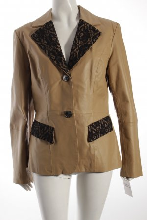 Sarah Kern Leather Blazer beige Lace trimming