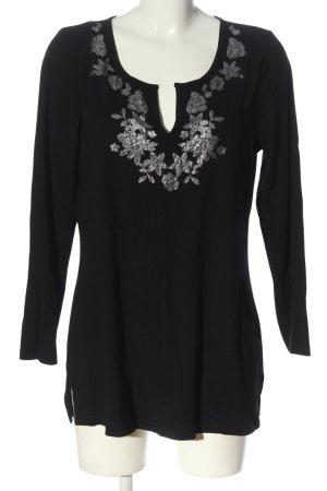 Sarah Kern Longsleeve schwarz-silberfarben Blumenmuster Casual-Look