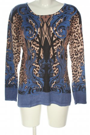 Sarah Kern Rundhalspullover braun-blau Leomuster Casual-Look