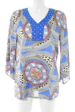 Sarah Kern Schlupf-Bluse blau-wollweiß abstraktes Muster extravaganter Stil