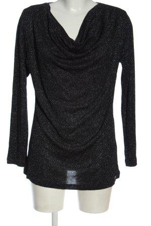 Sarah Kern Strickshirt schwarz Glanz-Optik