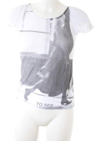 Sarah Pacini T-Shirt weiß-dunkelgrau platzierter Druck Casual-Look