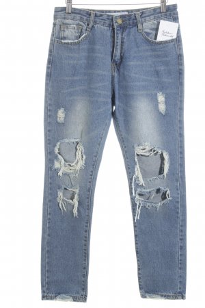 SassyClassy Slim Jeans kornblumenblau Logo-Applikation