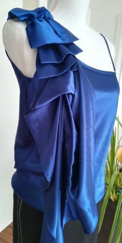 Satin Bluse von TALLY WEIJl, Gr. S/36/8, dunkel blau, mit Schleife