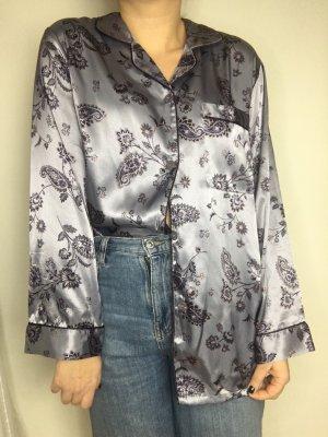Vintage Glanzende blouse mauve