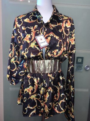 Glanzende blouse zwart-neongeel Gemengd weefsel