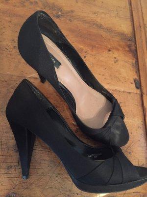 Satin Peep-Toes gr 39 schwarz