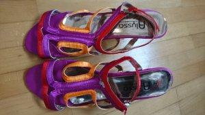 Satin Sandaletten colorblock lila rot