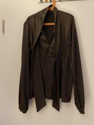 Zara Blusa con lazo marrón oscuro