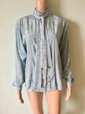 Tie-neck Blouse baby blue-lime-green polyester