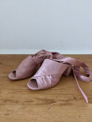 Satin Schuhe Sandalen Schnürsandaletten Peeptoe Schleife rose rosa 39