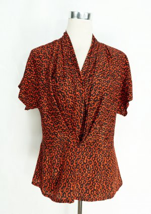 True Vintage Kimono Blouse black-red polyester