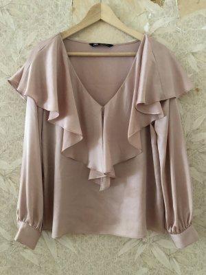 Zara Glanzende blouse stoffig roze