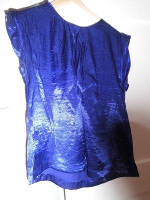 satinfarbenes Shirt in marineblau