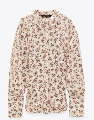 Zara Jedwabna bluzka biały-jasnoczerwony