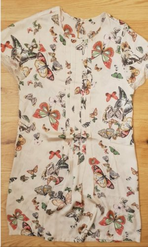 Satinkleid/Tunika, United Colors of Benetton, Schmetterlings-Print mit Spitze, Gr. S