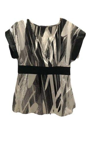 Glanzende blouse wit-zwart