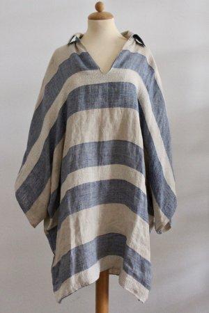 Kimono Blouse oatmeal-azure linen