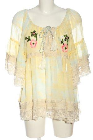 Savage Culture Transparenz-Bluse blassgelb-türkis Farbverlauf Casual-Look