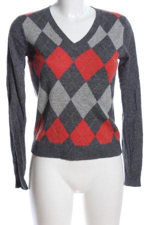 Savannah V-Ausschnitt-Pullover hellgrau-rot grafisches Muster Business-Look