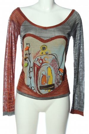 Save the Queen Langarm-Bluse rot-hellgrau Motivdruck Casual-Look