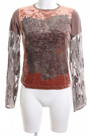 Save the Queen Longshirt braun-hellorange abstraktes Muster extravaganter Stil