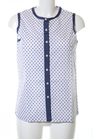 Savile Row Company ärmellose Bluse blau-weiß Allover-Druck Casual-Look