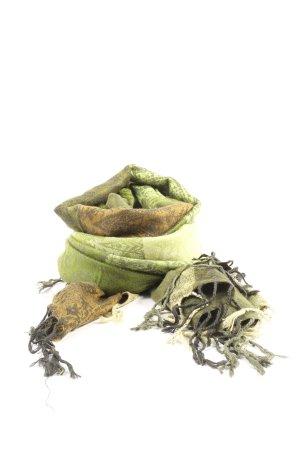 scarfs 4 you Bufanda de flecos verde-marrón look casual