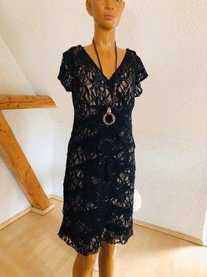 Scarlett Nite Abendkleid, Gr. 12 (38/40), schwarze Spitze auf champagnerfarbe
