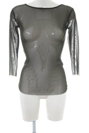 SCEE Camisa de malla negro Patrón de tejido estilo fiesta