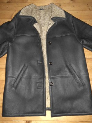 Abrigo de cuero negro-beige claro Gamuza