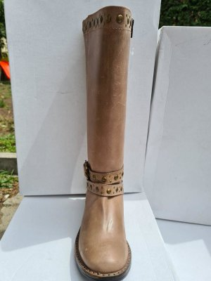 Sheego Jackboots grey brown-light brown leather