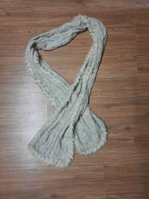 Gebreide sjaal wolwit-licht beige