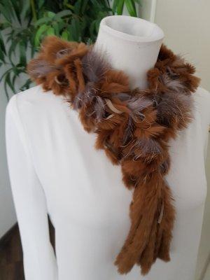 Bufanda de punto marrón claro-marrón