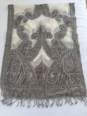 Ohne Fringed Scarf grey brown