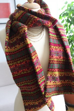 Knitted Scarf multicolored mixture fibre