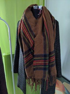 Écharpe en crochet brun-rouge