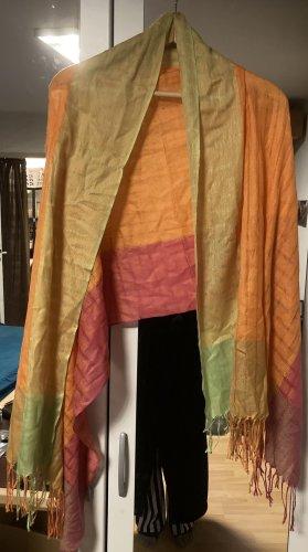 Bufanda de flecos multicolor