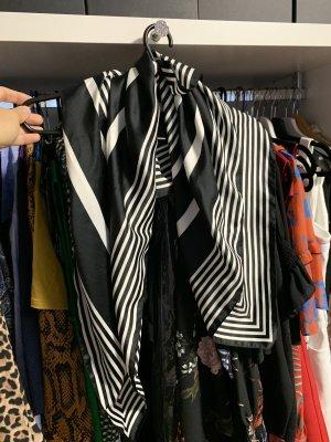 Bufanda de seda blanco-negro