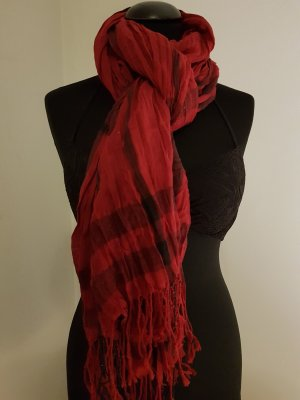 0039 Italy Fringed Scarf black-dark red