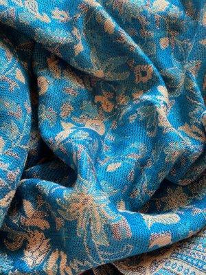 H&M Bufanda de flecos azul-color oro