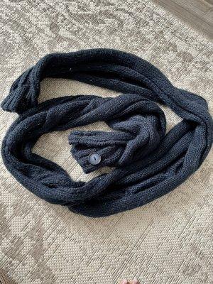 tchibo Bufanda de punto azul oscuro-color oro