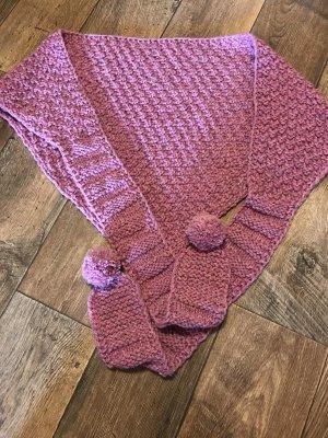 Bufanda con capucha rosa