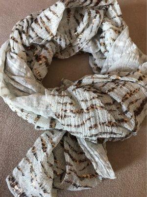 0039 Italy Écharpe d'été blanc cassé-marron clair coton