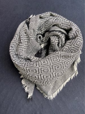 Unbekannte Marke Écharpe en laine noir-blanc