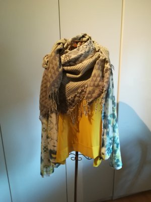 Fringed Scarf beige-olive green cotton