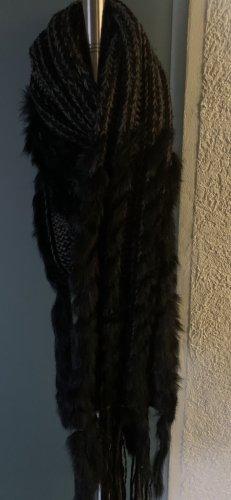 Écharpe à franges noir-gris anthracite