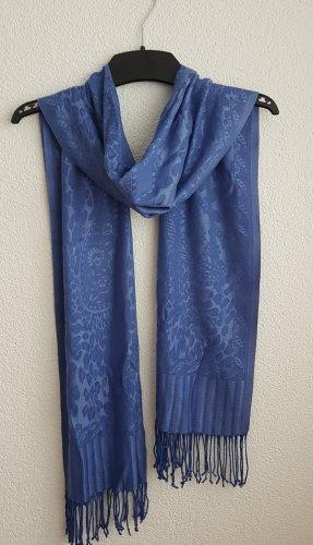 Pashmina bleu acier-bleuet